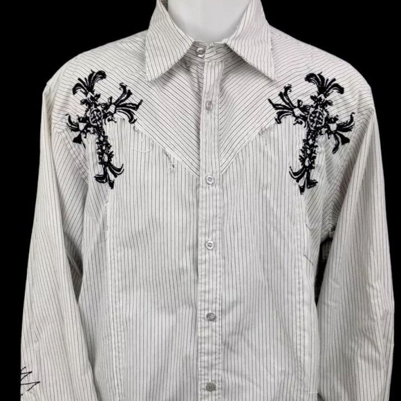 Roar Other - ROAR Mens Embroidered Button Front Shirt Size L